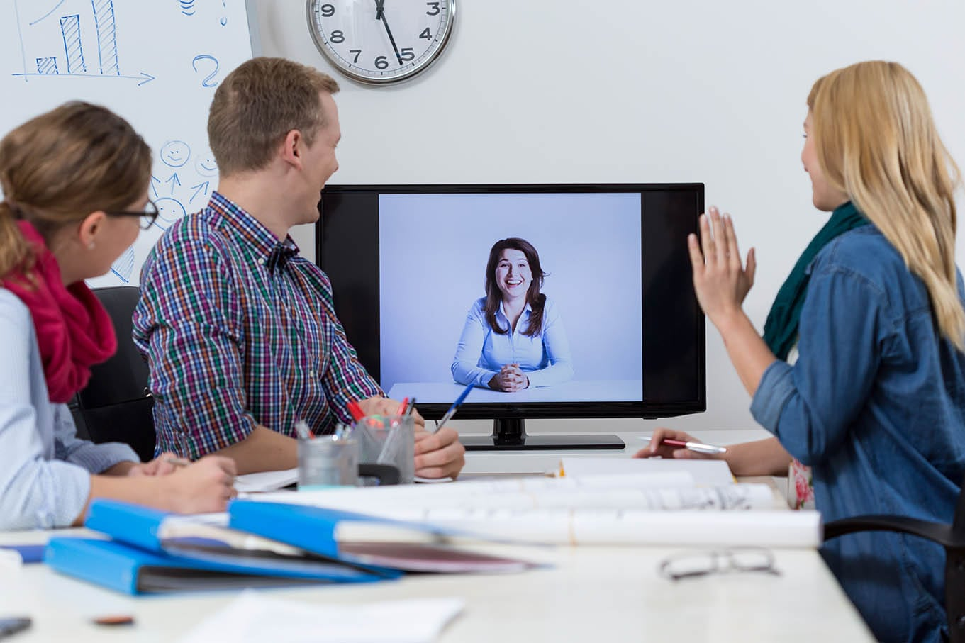 A group web conference between a prospective account and a sales person